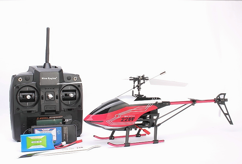 SOLO PRO 228A(red) SINGLE BLADES HELICOPTER RTF